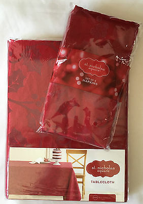 "Holly Tablecloth & Napkins Set St. Nicholas Square 70"" Round RED Holiday Set NIP"