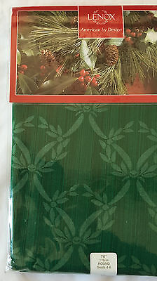 "LENOX Green Holly Tablecloth Damask Chelsea 70"" Round Fine Linens, NIP"