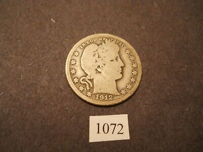 1912 S  Silver Barber Quarter  RARE DATE AND MINT
