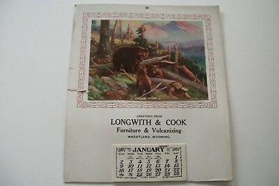 1921 Longwith & Cook Furniture & Vulcanizing Wheatland Wyoming Calendar