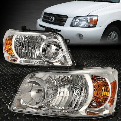 For 2004-2006 Toyota Highlander Pair Chrome Housing Amber Corner Headlight/lamp