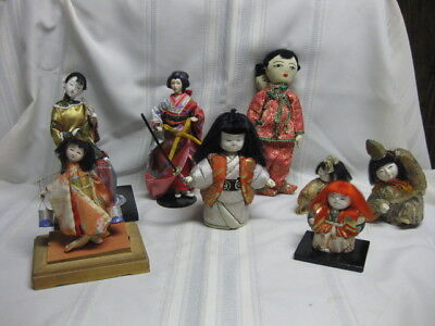 Vintage Lot Of 8 Chinese & Japanese Doll Porcelain And Silk Cloth Geisha