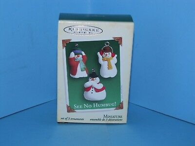 Hallmark Miniature Ornament 2005 See No Humbug! Set of 3 Snowmen