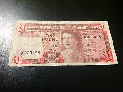 GIBRALTAR  1 Pound 1983 circulated. Free shipping to US, NR