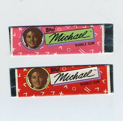 Lot (2) Topps Souvenir Chewing Bubble Gum Stick Wrappers Michael Jackson bv1750