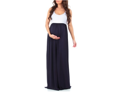 Women's CA Trading Group Ruched Maternity Maxi Dress: White-Navy/Large NEW!