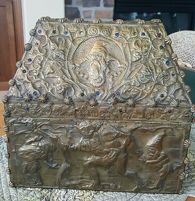 GNOME FAIRY FOLK TALE Antique Russian Arts and Crafts Brass & Wood Box c1900