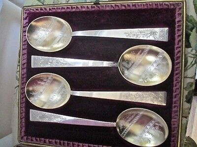 Magnificent Set 6 Antique Silver Gilt Serving Spoon, Cased Incredibly Engraved