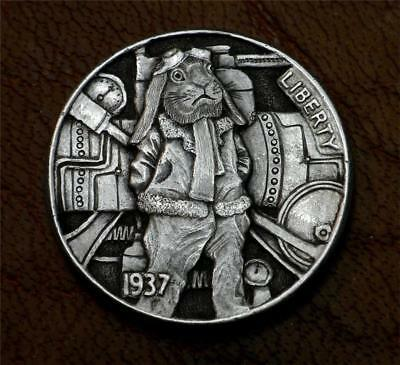"Hobo Nickel ""Kinetic Carrot Time Displacer"" Steampunk Rabbit Coin Howard Thomas"