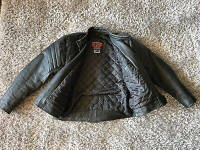 Genuine Leather Mens Black Leather Padded Biker Jacket size Small
