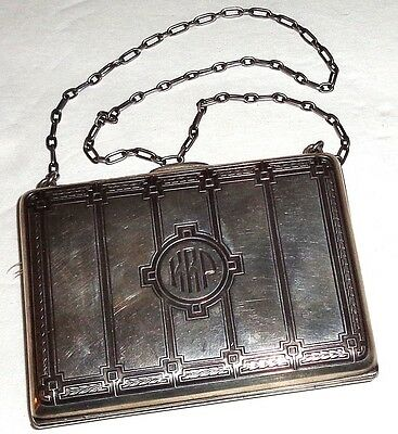 RARE Amazing DECO Antique W.B. KERR Gorham STERLING SILVER PURSE w/CHAIN~156.6G!