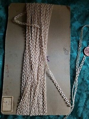"""1/8"""" Tiny Antique French tape lace trim  Battenberg making  insertion  10 yards"""