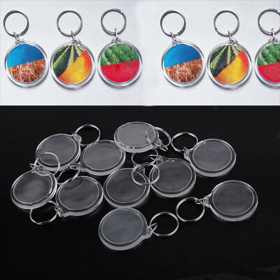 10x Acrylic Round Clear Photo Keychain Insert Frame Picture DIY Blank Key Ring