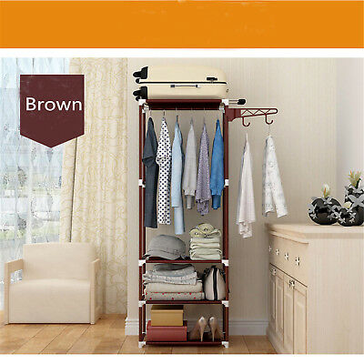 Metal Coat Rack Hall Stand Clothes Shoes Hat Rack Steel Hanger Holder Brown