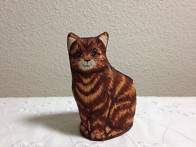 Vintage Tabby Cat Fabric Figure Handcrafted Cottage Chic Striped Meow Kitty