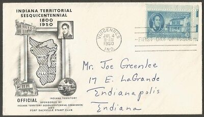Us Fdc 1950 Indiana Territory Sesquicentennial 3C Stamp First Day Of Issue Cover