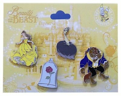 2017 Disney Beauty and the Beast Booster Set of 4 Pins Rare