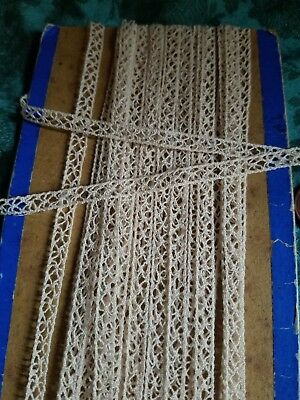 """1/8"""" Tiny Antique French tape lace trim  Battenberg making  insertion  9+ yards"""