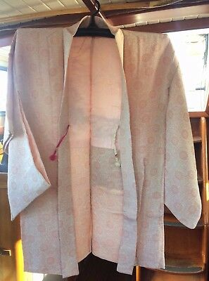 Lovely Pale Pink Floral Patterned Vintage Japanese Haori (Kimono Jacket)