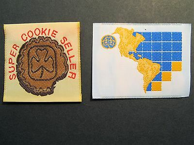 "Girl Guides Canada 2 Super Cookie Seller ""the Americas"" Silks Brownies Scouts"