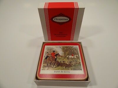 Vintage Unused Drink Coasters Set in Box Pimpernel English Fox Hunting Cork Back
