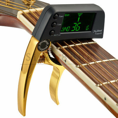 Professional Acoustic Guitar Bass Capo Tuner Folk Meideal TCapo20 Golden