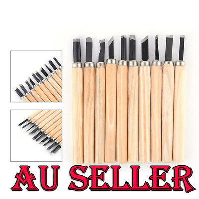 10Pcs Set Wood Carving Chisels Tool Knife Woodcut Woodworking Craft Kit AU