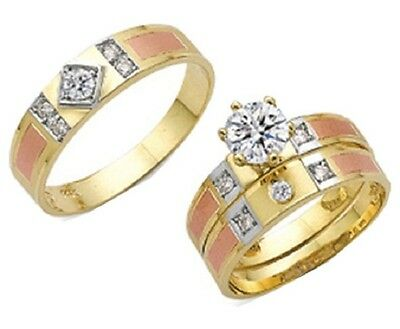 10k Tricolor Gold His & Her Wedding Engagement Band Set