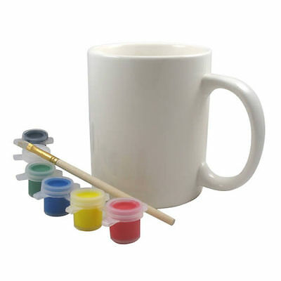 Ceramic Paint Your Own Mug & Paints Set Kids Creative Painter Gift Vintage Child