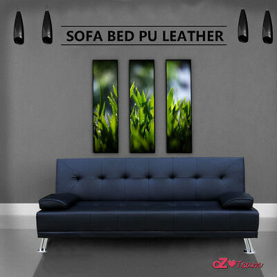 New Sofa Bed Pu Leather 3 Three Seater Lounge Office Couch Futon Black