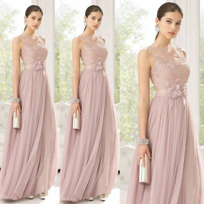 Formal Blush Long Bridesmaid Dresses Evening Party Prom Dress Ball Gown 6-22