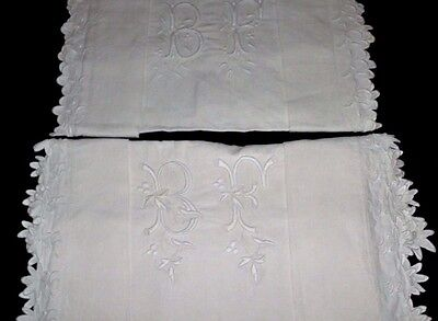 Pair European antique hand embroidered fine linen shams pillow cases mono BF
