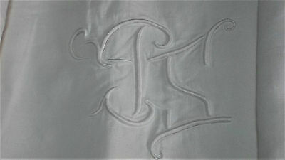 French antique hand embroidered large linen sheet mono PS SP flowers dots leaves