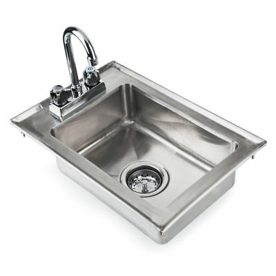 "Regency One Compartment 10"" x 14"" x 5"" Stainless Steel Drop In Sink Commercial"