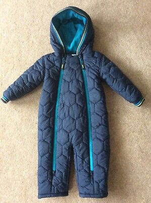 Boys 12-18 Months Ted Baker Snowsuit Coat Navy Excellent Condition