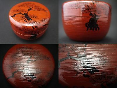 Japanese Traditional Lacquer Wooden Tea Caddy SUNRISE Natsume (908)