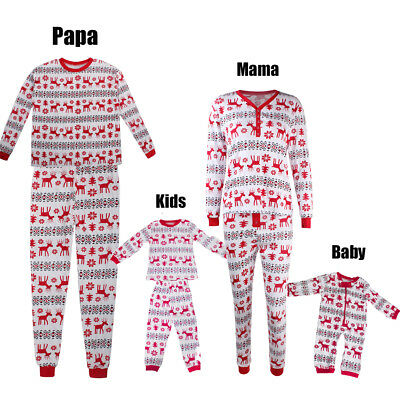 XMAS Kids Baby Adults Family Pajamas Set Deer Sleepwear Nightwear Pyjamas DW
