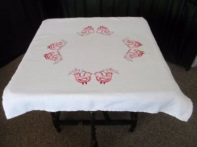 VINTAGE TABLECLOTH HAND EMBROIDERED with BIRDS - LINEN