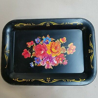 Vintage Tip Tray Tole Painted Black Metal  with Flowers