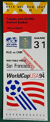 1994 WORLD CUP FINALS USA - MATCH TICKET PRESS - GAME 31. RUSSIA vs. CAMEROON