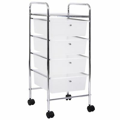 4 Tier Drawer Trolley White Chrome Cart Storage Tool Rack New By Home Discount