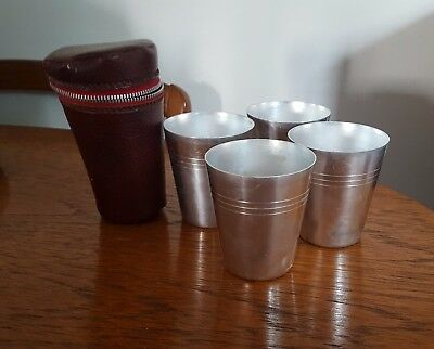 Vintage Silver Anodised Cups in Leather Case (plus 2 extra cups)