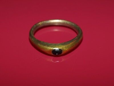 Beautiful 14 C. Medieval Silver Stirrup Ring With Blue-Black Sapphire Cabochon