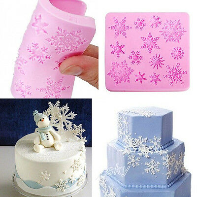 Xmas Snowflake Silicone Fondant Cake Mold Chocolate Candy Mould Decorating DIY