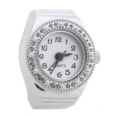 Ring Watch Quartz Silver Alloy Round Sphere for Women Dame CS