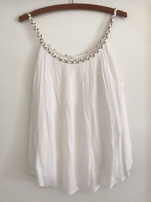 Seed Women's White Crepe Summer Top Size 10 Excellent Condition
