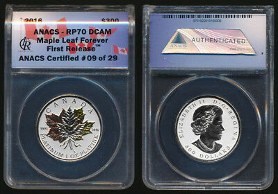RARE 2016 CANADA 1.0 TrOz PRF PLATINUM $300 MAPLE LEAF FOREVER (250 ISSUED) NoRs