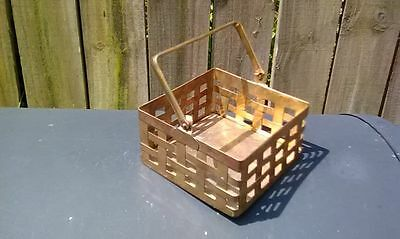 """Vintage Small brass basket with moveable handle """"India"""""""