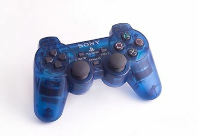 Official Genuine Original Sony Dual Shock 2 PS2 Controller Game Pad Clear Blue