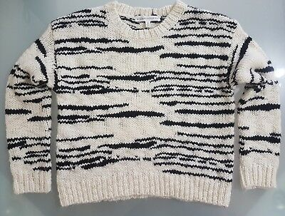 Witchery 8 Fourteen zebra stripe knit long sleeve jumper size 10 wool & alpaca